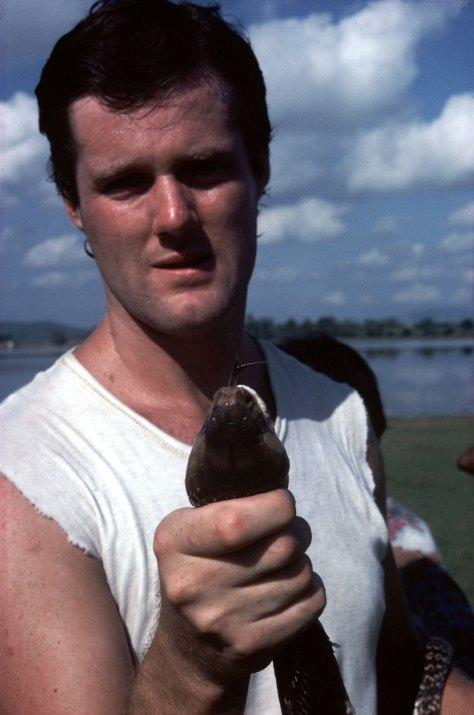 Stefan Quinth holding cobra, 1982