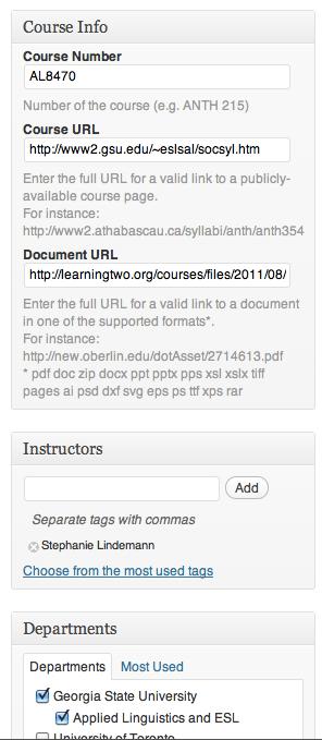 Course Data (Screenshot