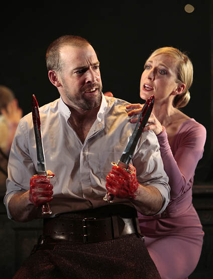 Ian Merrill Peakes and Kate Eastwood Norris as Macbeth and Lady Macbeth at Folger Theatre