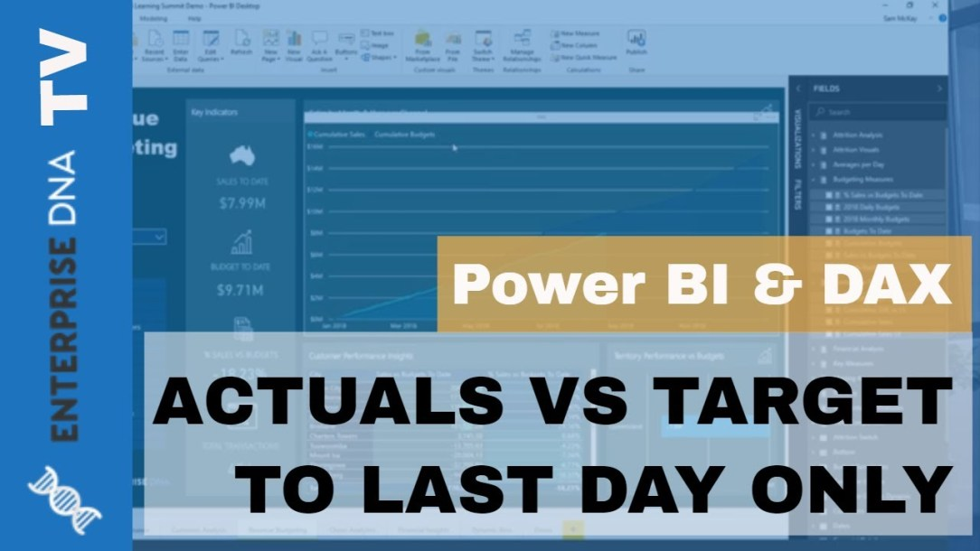 Actual Vs Target To Last Sales Date Using DAX Cumulative Totals In Power BI