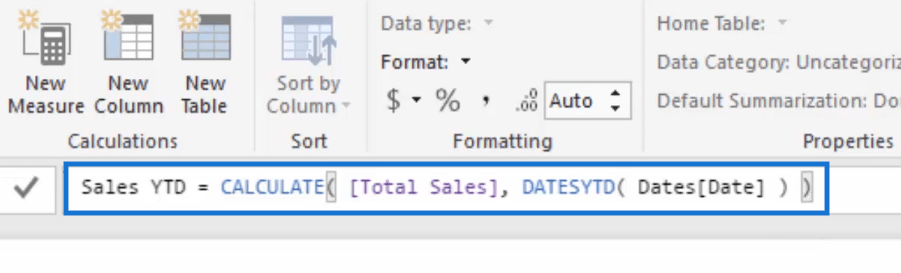 sales year to date formula