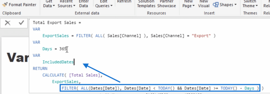 transfer filter to included dates variable