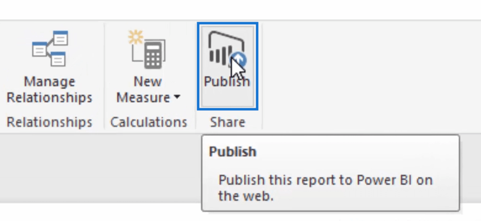 step 1 of publishing row level security model in power bi