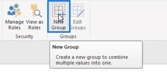 new group option at the top
