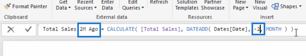 total sales two months ago to be used in comparing cumulative information in power bi