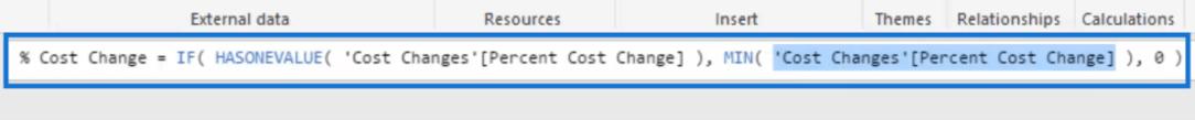 % cost change formula