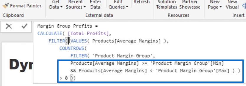 Margin group profits formula portion