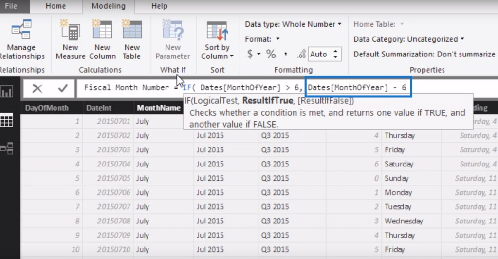 Subtracting 6 to the value of the MonthOfYear column within the IF logic for filtering data by financial or fiscal years using calculated columns in Power BI.