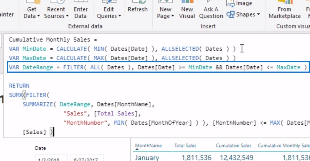 DateRange variable for calculating the Cumulative Monthly Sales