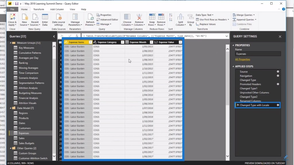 Expenses table for Power BI financial reporting