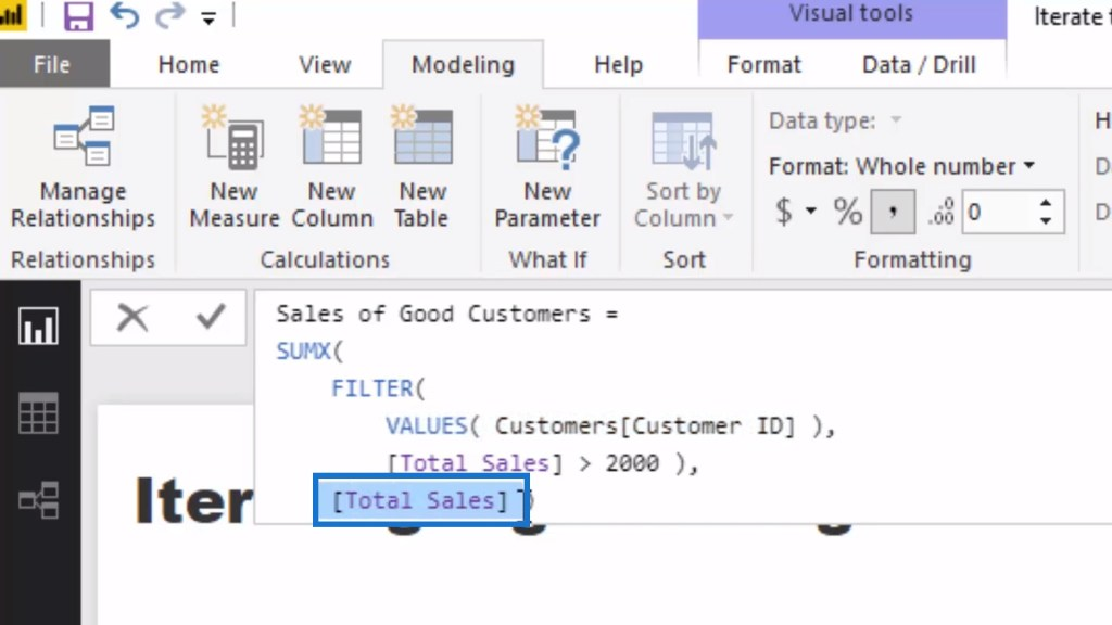 calculating the Total Sales using a virtual table within SUMX
