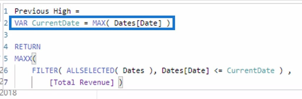 calculating the current date using the MAX DAX function