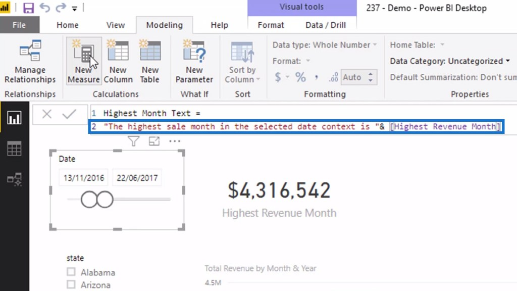 Setting the value of a dynamic title or heading in Power BI