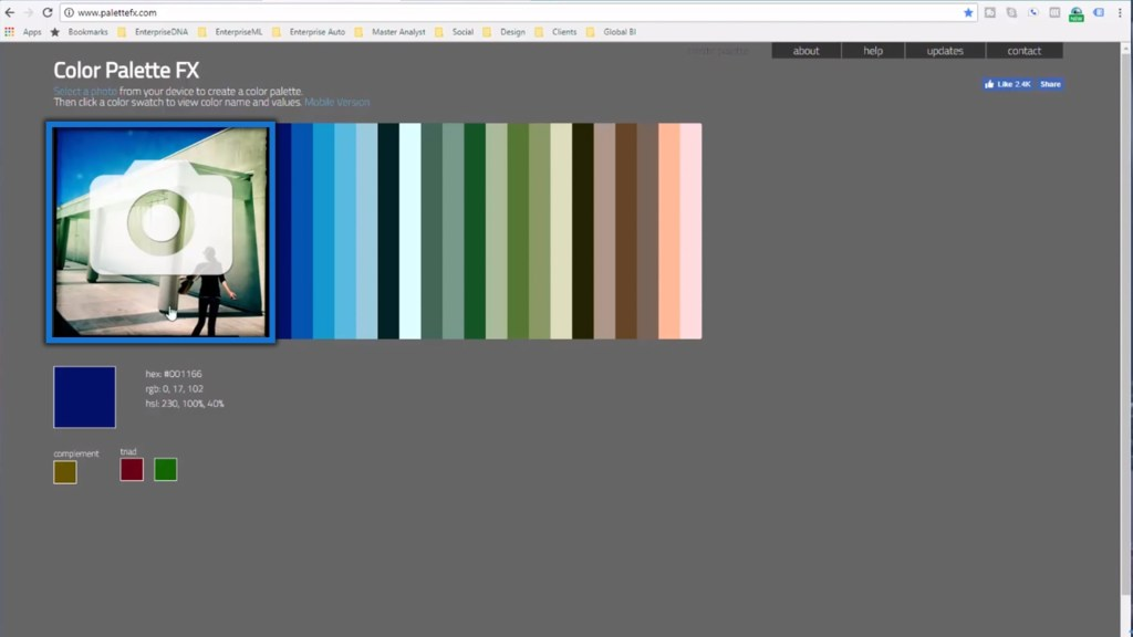 uploading the image on the Color Palette FX website for Power BI data visualization