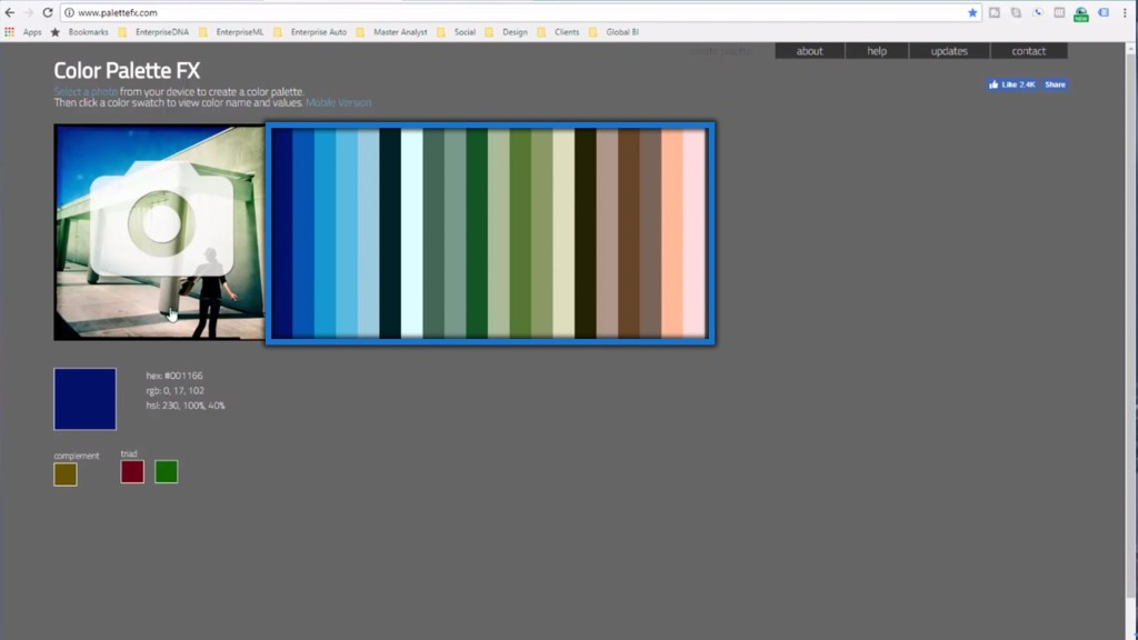 Generated color palettes from the Color Palette FX Website
