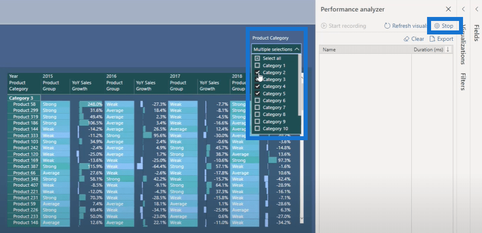 performance analyzer in power bi