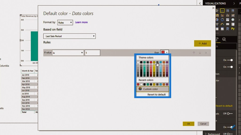 Changing color for Power BI visual based on a condition