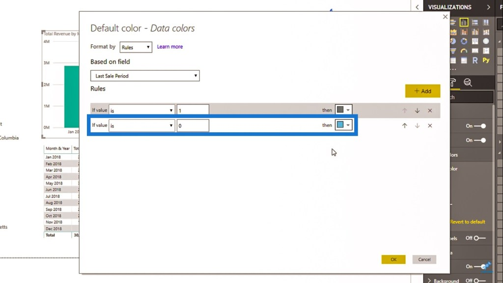 Changing color for Power BI visuals based on a condition