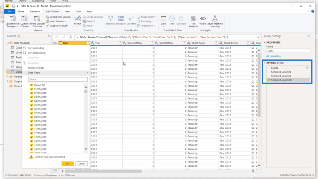 transformations in power bi