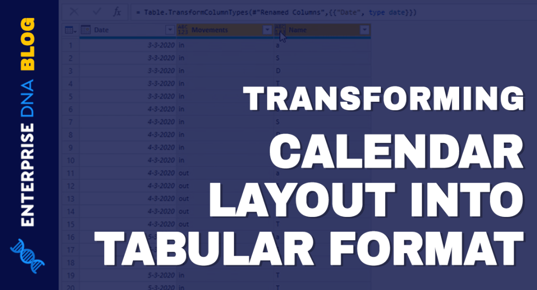 Turn Calendar Type Layout Into Tabular Format In Power BI Query Editor Tutorial