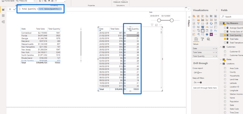 The Total Quantity measure - DAX Power BI