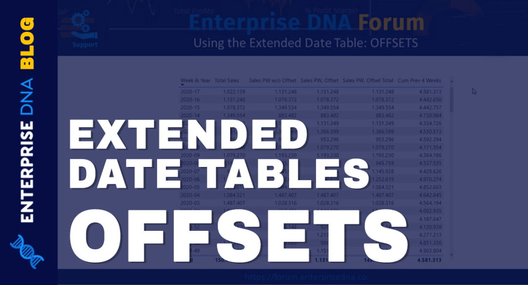 Using The Extended Date Table - OFFSETS In Power BI