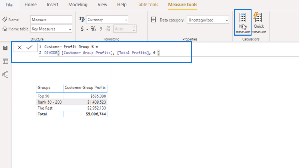 Calculating the Customer Profit Group Percentage using the DIVIDE function