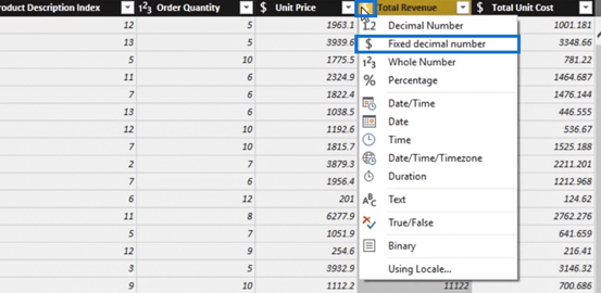 Changing the data type as an example of a Power BI Query transformation