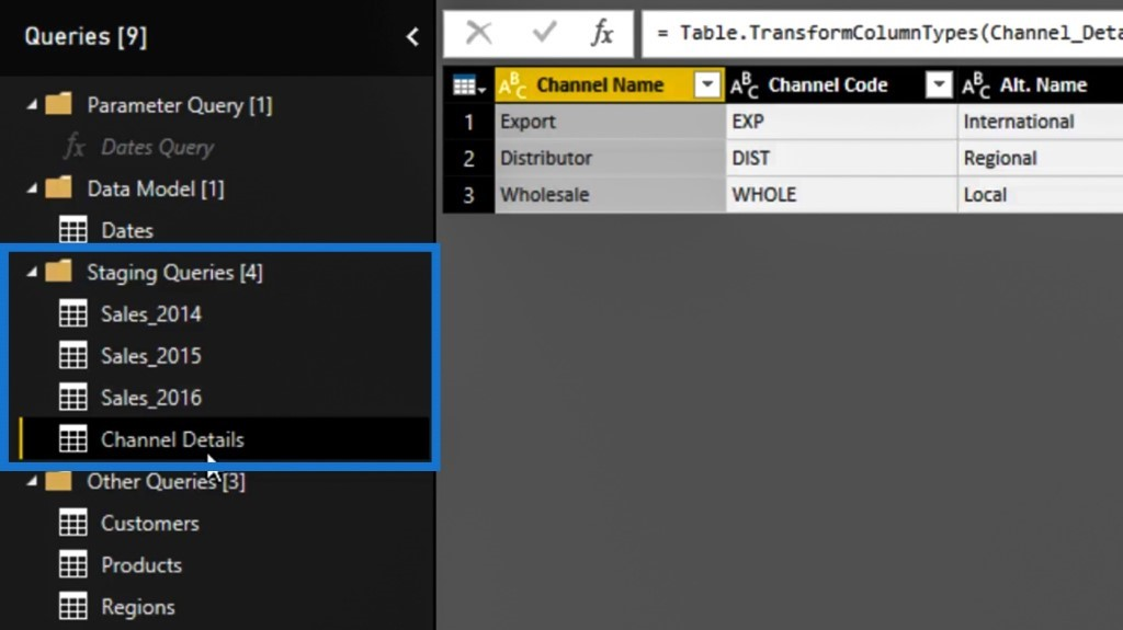 Power Query editor: moving the Channel Details table within the staging queries folder