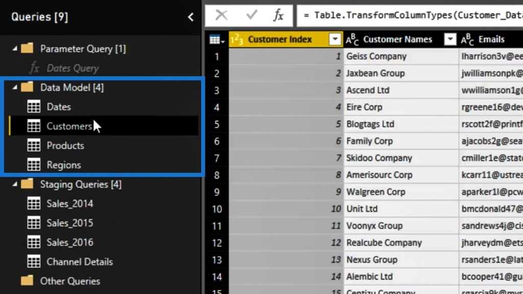 organizing tables within the Power Query editor