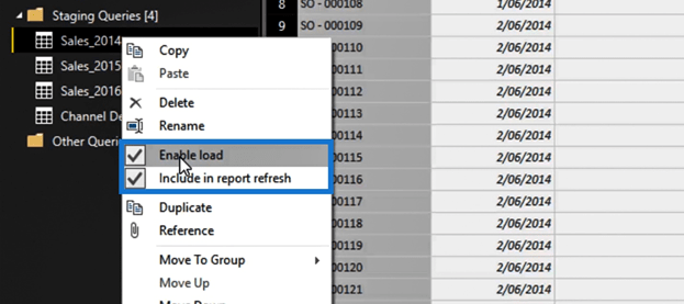disabling the load within the Power Query editor