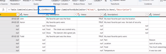 Power Query Table