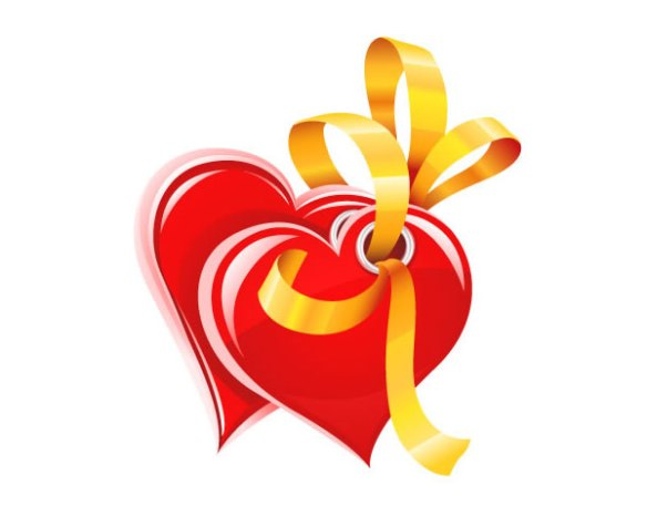 Hearts with gold ribbon