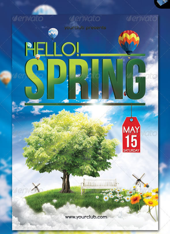 Hello! Spring - Party Flyer - Front & Back