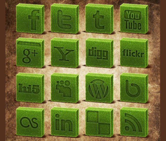 Cubed Grass Social Media Icons