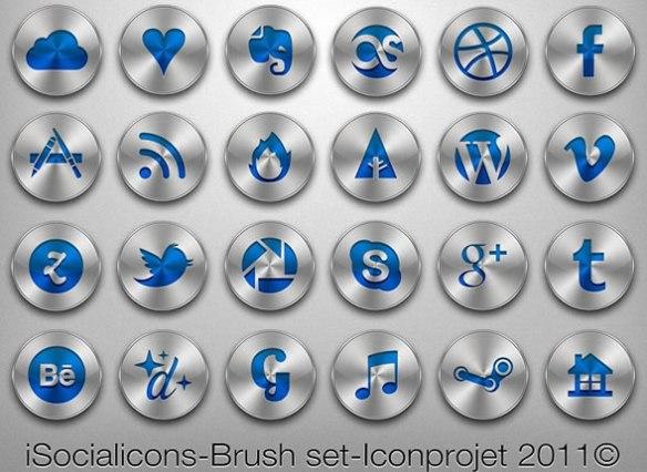 iSocialicons Set BrushMetal