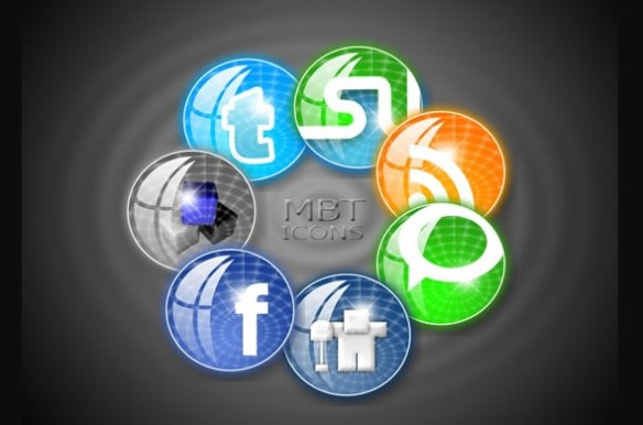 Circular Style MBT Social Bookmarking Icons Set