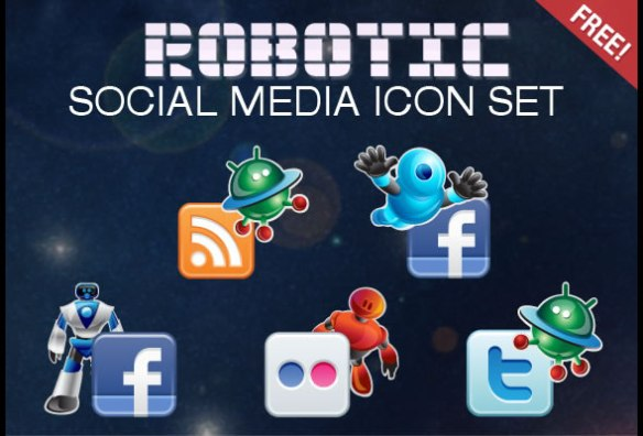 Free Robotic Social Media Icons Set