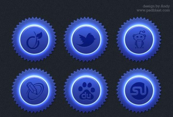Blue color social icon set