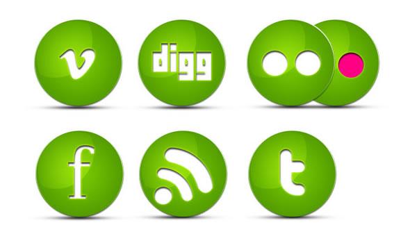 Green Glossy Social Icons