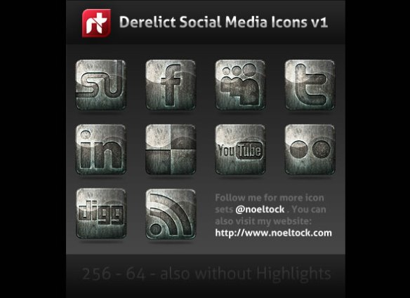 Derelict – Free Grunge Social Media Icons