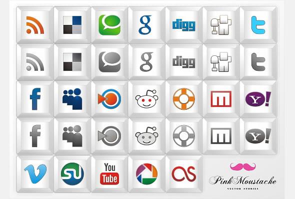 """New free social icon set: """"Key icons"""""""