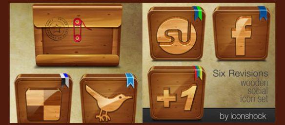 Wooden Social: Free Icon Set