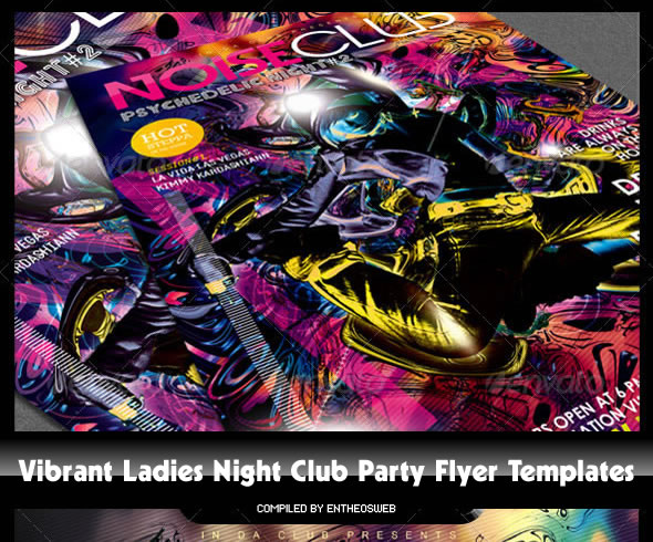 Vibrant Ladies Night Club Party Flyer Templates