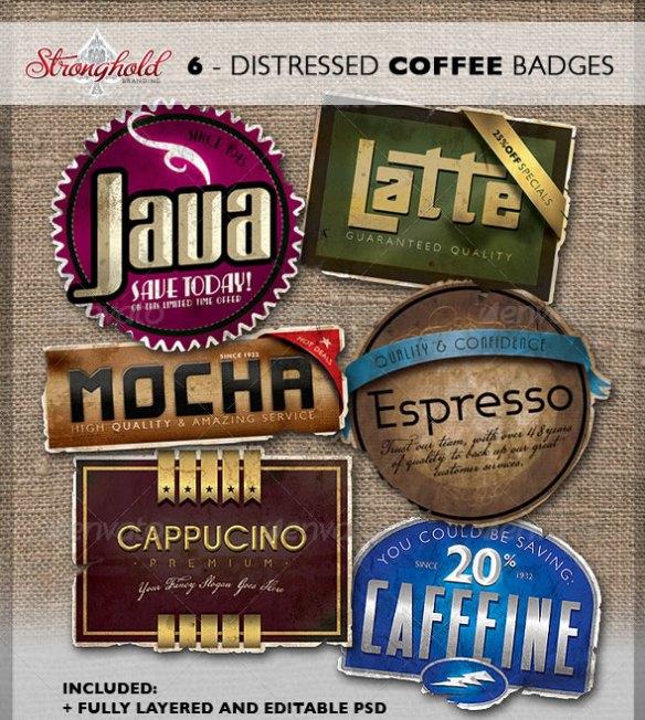Vintage Distressed Coffee Badges
