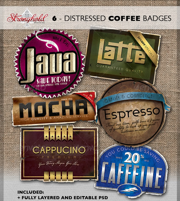 Vintage Distressed Coffee Badges