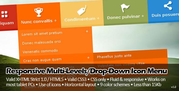 Responsive Multi-Levels/Drop-Down Icon Menu