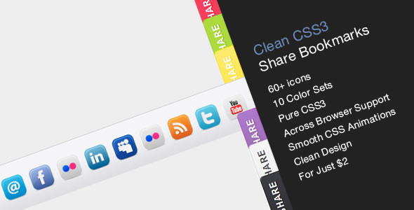 Clean Share Bookmark (10 styles, 62 icons)