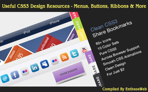 Useful CSS3 Design Resources - Menus, Buttons, Ribbons & More