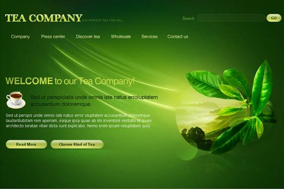 Tea Company Flash Website Template